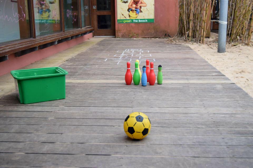 Set of skittles set up outside