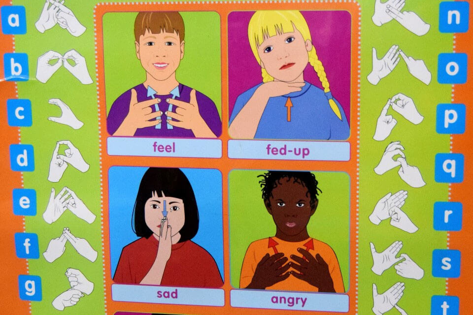 Laminated faces showing different emotions