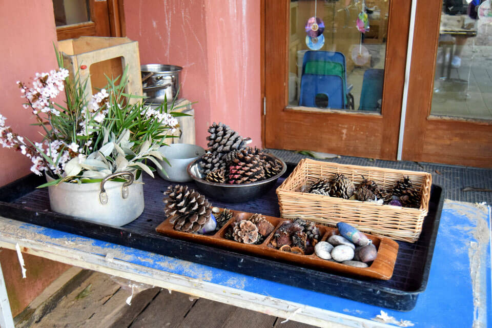 Pine cones, leaves, conkers and pebbles