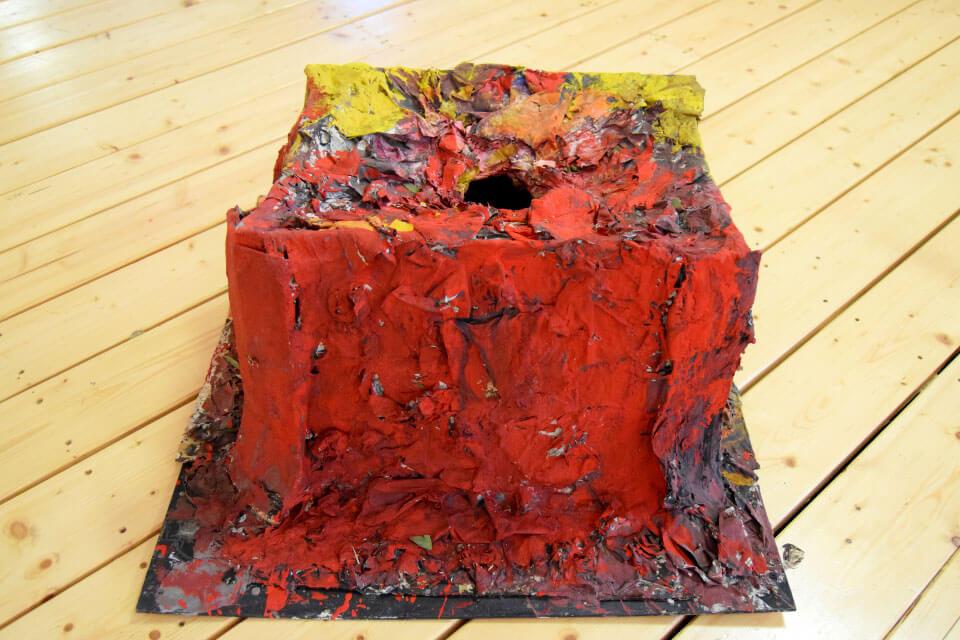 A paper mache volcano